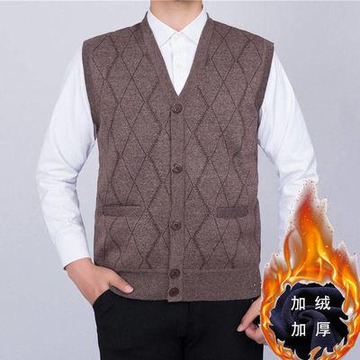 中老年男士加绒马甲开衫V领大码加肥加绒加厚针织衫背心毛衣