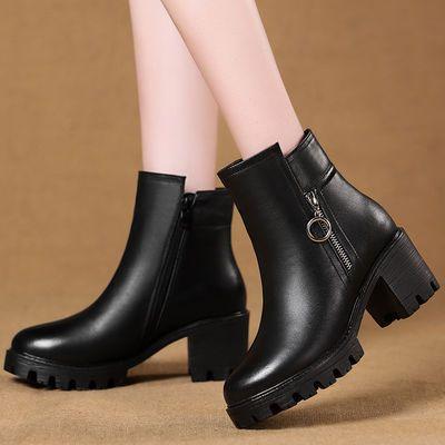 2018冬季新款女靴加厚女棉鞋女短靴女式棉皮鞋粗跟加绒妈妈鞋