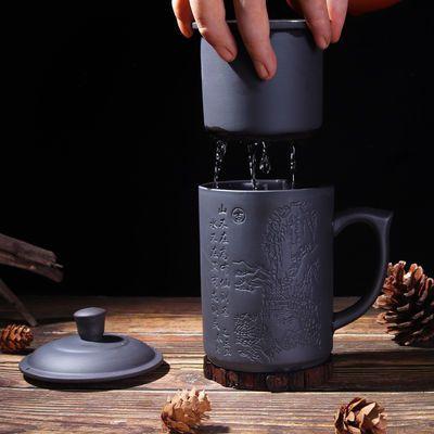 宜兴紫砂杯紫泥纯手工非陶瓷大杯子带盖水杯功夫茶具办公杯泡茶杯【3月12日发完】