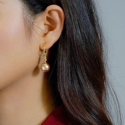 日韩打结珍珠大耳环s925银针网红气质高大上港风耳钉时尚百搭新款