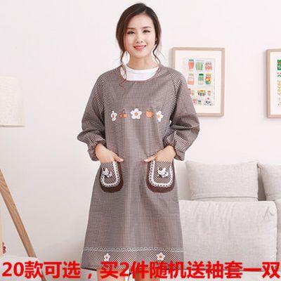 拉链兜棉围裙长袖做饭厨房韩版时尚带袖防水防油成人女罩衣