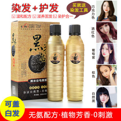 【500ml*2瓶 多色可选】发利源黑米谷植物发霜彩色染发剂染发膏