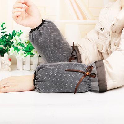 韩版秋冬季成人女可爱短款蕾丝层袖套学生刺绣白色工作防污套袖