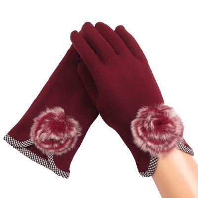 手套女冬可爱加绒保暖鹿皮绒加厚防寒学生指分指骑行女士触屏
