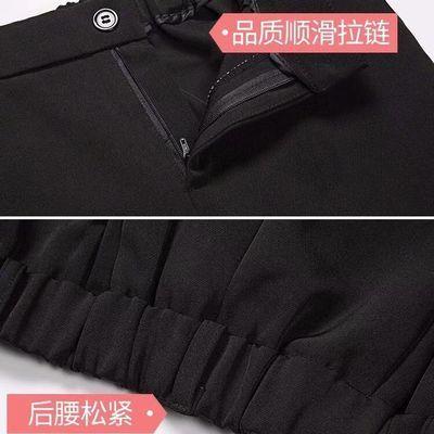 秋冬季高腰显瘦直筒裤女学生韩版宽松西装裤黑色烟管九分休闲裤女