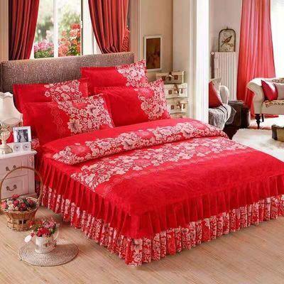 加厚磨毛床裙四件套被套床罩1.8m米公主像全棉纯棉四件套床上用