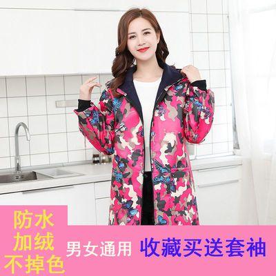 长袖棉围裙防水防污罩衣带袖围裙成人女厨房烧饭防油防水保暖围腰