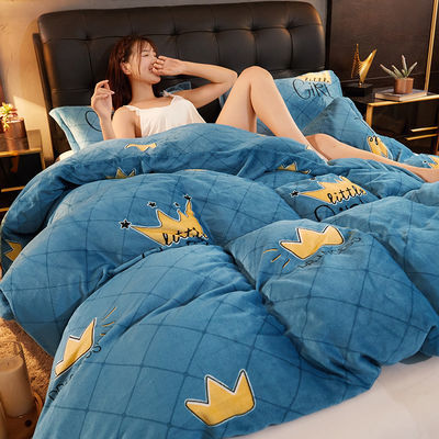 冬天加厚保暖床单被套水貂绒色加绒珊瑚绒床上用品公主风