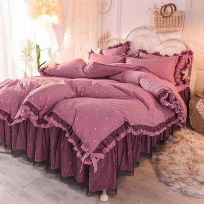 网红蕾丝床裙四件套韩版公主风全棉纯棉简约被套加带床罩式床套款