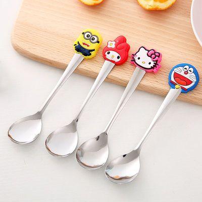 韩版清新可爱硅胶手柄不锈钢勺子儿童时尚卡通调羹咖啡搅拌勺汤勺