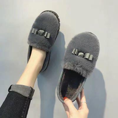 新店充量,质量保证。棉鞋女士秋冬学生保暖加绒毛毛韩版低帮平底懒人豆豆鞋防滑一脚蹬