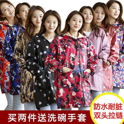 韩版时尚长袖围裙棉厨房成人女罩衣防水防油居家反穿衣包邮带袖