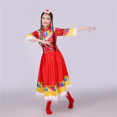 藏族舞蹈演出服装女少数民族服装民族风服饰藏袍藏族演出服装臧族