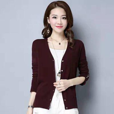 秋季女装外套宽松针织衫女士薄款开衫长袖纯色v领外搭显瘦披肩