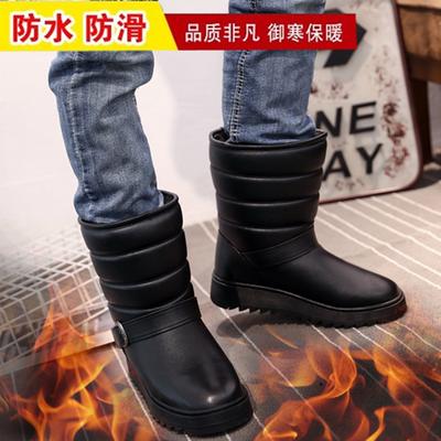 冬季新款男士雪地靴高筒靴防水防滑棉靴加厚加绒户外保暖靴男靴