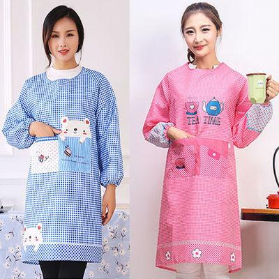 防水长袖围裙韩版时尚可爱棉厨房反穿衣防油污有带袖成人女罩衣