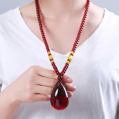 血珀吊坠女水滴琥珀项链长款民族风酒红色毛衣链平安方牌挂坠礼物