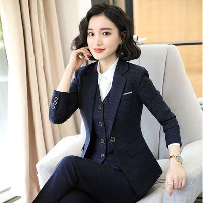 格子西装套装女2020秋冬新款职业装女装马甲套装时尚气质商务正装