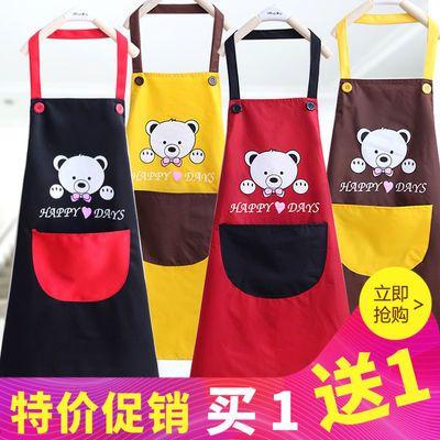韩版体式围裙长袖防水厨房成人罩衣反穿衣罩可爱卡通带袖眼镜兔