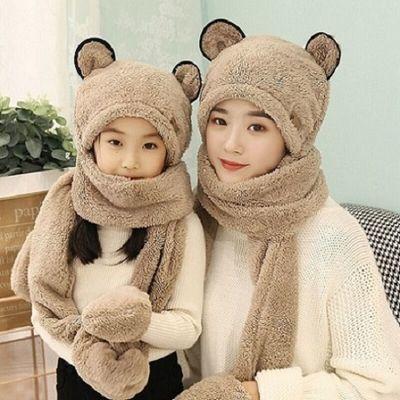 【亲子三件套】女亲子儿童宝宝帽子围巾手套三件一体秋冬保暖加厚