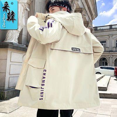 学生加绒厚外套男装中长款工装套装棉衣服男士风衣秋冬季休闲夹克