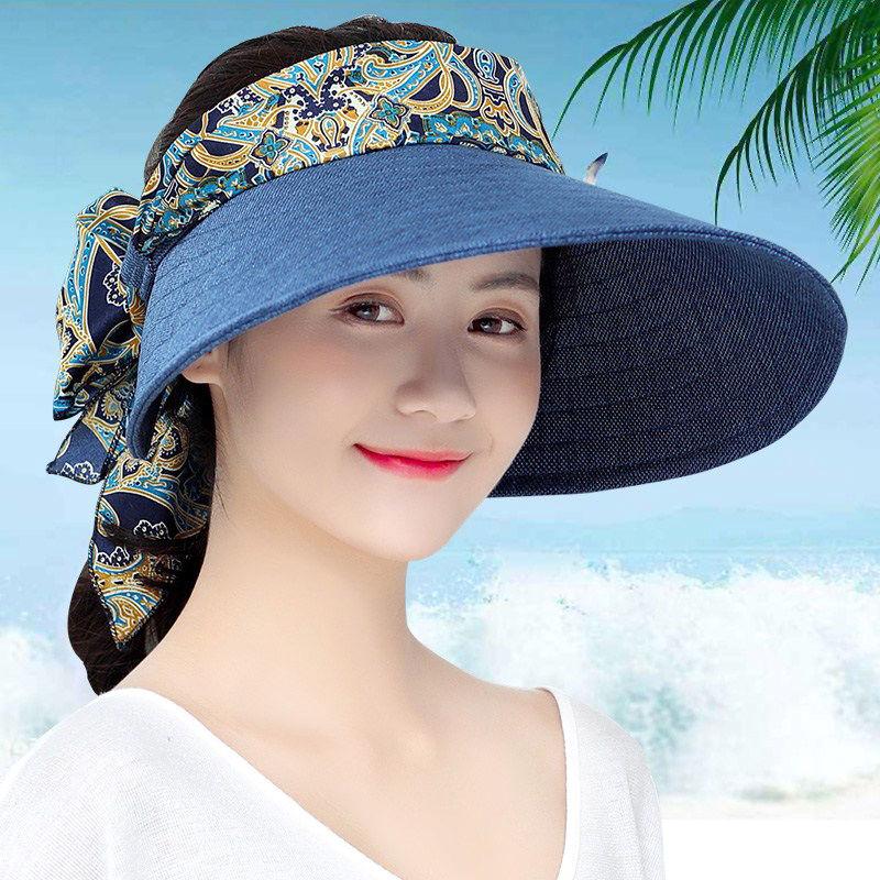 麻布大帽檐沙滩空顶太阳帽遮阳帽女夏天防紫外线帽子夏季防晒帽女