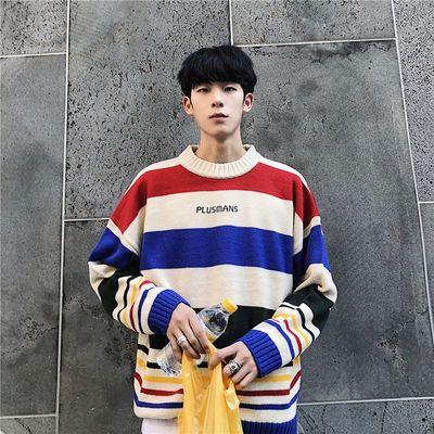 毛衣男韩版潮流个性圆领套头针织衫百搭学生青少年高领情侣毛线衣