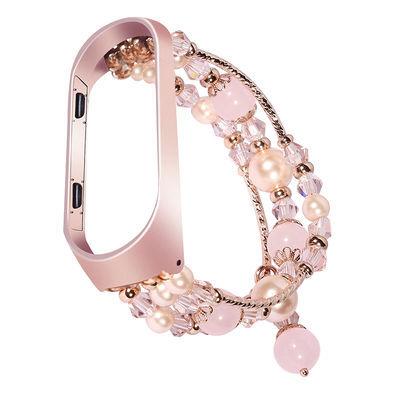 小米手环4表带3腕带水晶玛瑙装饰运动替换表带手环3/4代通用潮女