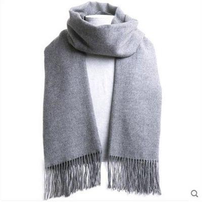 新款围巾男士纯色秋冬季加厚加长灰色围脖女式披肩流苏围巾情侣围