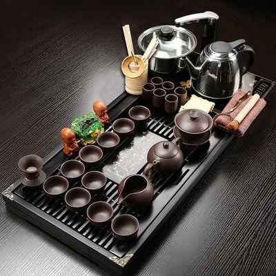 紫砂功夫茶具套装整套家用实木茶盘特价泡茶壶茶杯子玻璃冰裂盖碗