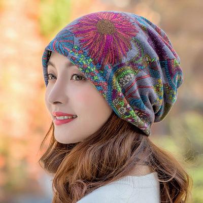 花朵帽子女秋冬天韩版保暖休闲套头帽两用帽围脖套护耳帽包头帽