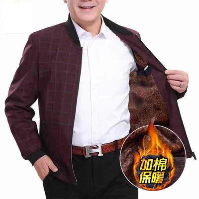 爸爸外套秋冬厚款棉衣中老年男装外套加绒加厚冬季夹克衫中年男士