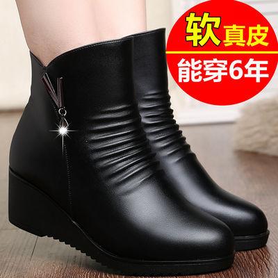 妈妈棉鞋女真皮冬季防滑平底皮鞋女靴子坡跟女加绒中年女士棉靴女