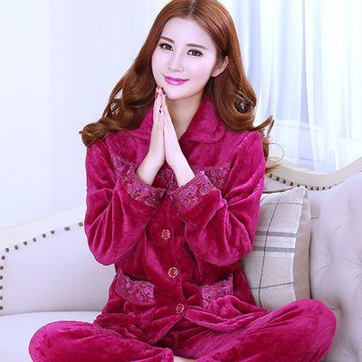 秋冬季睡衣女珊瑚绒加厚保暖女士法兰绒套装加大码中老年人家居服