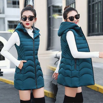 秋冬新款棉马甲女韩版修身显瘦大码中长款棉坎肩女士棉背心厚外套