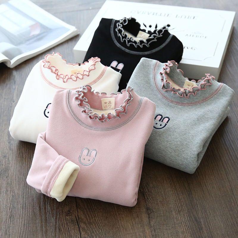 女童打底衫加绒加厚女宝宝上衣中小童秋冬装长袖T恤女童保暖上衣
