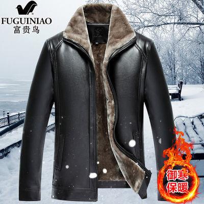 【富贵鸟正品】秋冬季中老年男PU皮衣夹克皮立领外套厚款男装衣服