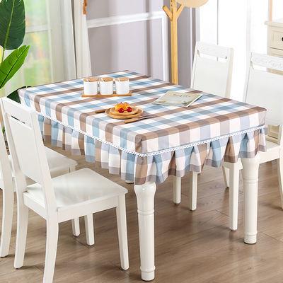 简约现代茶几桌布正方形桌罩餐桌套桌布布艺格子台布桌裙长方形