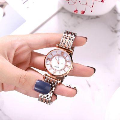 新款摩天轮钢带手表女款时尚四罗马八线条刻度简约合金钢带手表