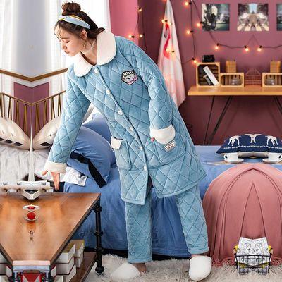 睡衣女士冬季珊瑚绒三层夹棉加厚加绒保暖法兰绒棉袄女家居服套装