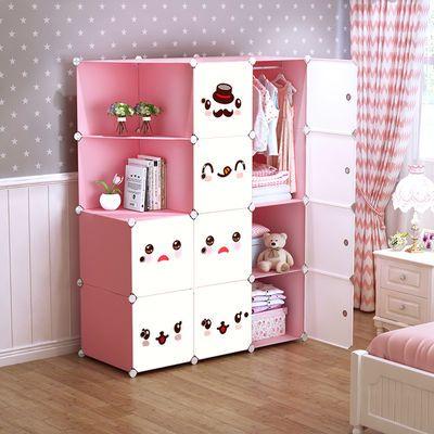 儿童简易衣柜现代组装简约衣橱出租房寝室塑料布收纳柜钢管单双人
