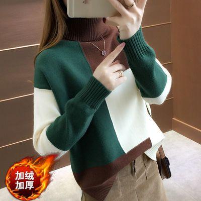加绒加厚毛衣女秋冬新款韩版宽松高领两翻领短款拼色针织衫打底衫