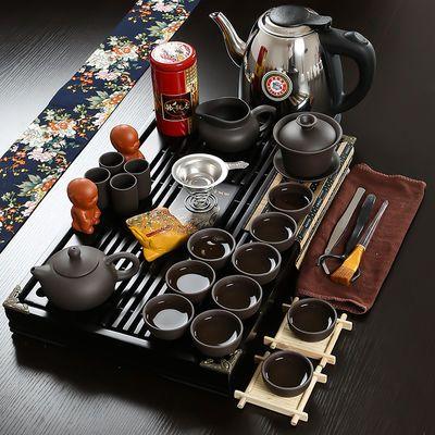 抖音同款2019锦溢家用茶具套装紫砂套组 实木茶盘带陶瓷茶壶茶杯