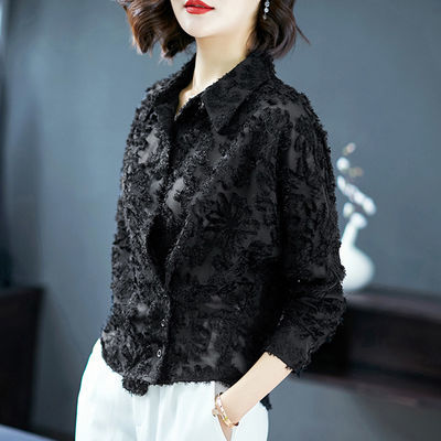 心机衬衫设计感欧洲站新款洋气女装打底翻领衬衣长袖衬衫女宽松