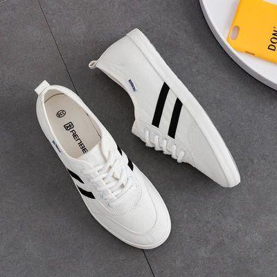 人本帆布鞋女夏2019春季新款韩版学生小白鞋透气白色休闲布鞋主图