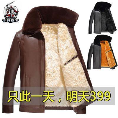 海宁专柜正品【反季清仓】冬季加绒皮衣男中老年男士夹克外套男装