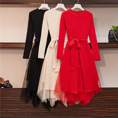 红色连衣裙秋冬新款洋气显瘦微胖妹妹网纱两件套加厚针织毛衣裙女
