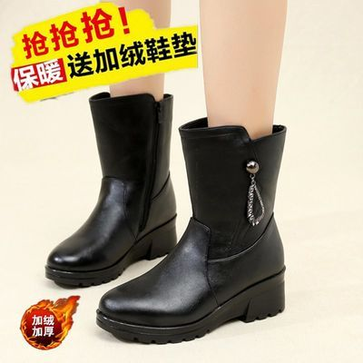 靴子女冬季新款中筒靴真皮妈妈棉鞋平底皮靴女士雪地靴女大码女靴
