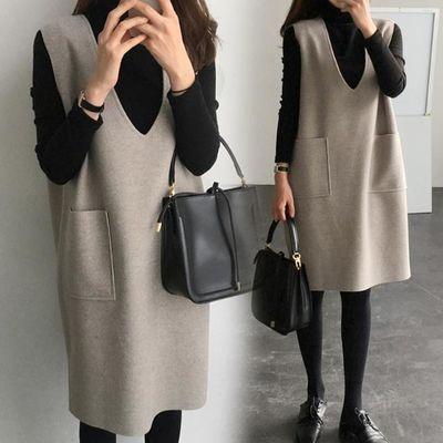 背心裙秋冬新款加大码女装潮流胖mm显瘦两件套时尚洋气连衣裙套装