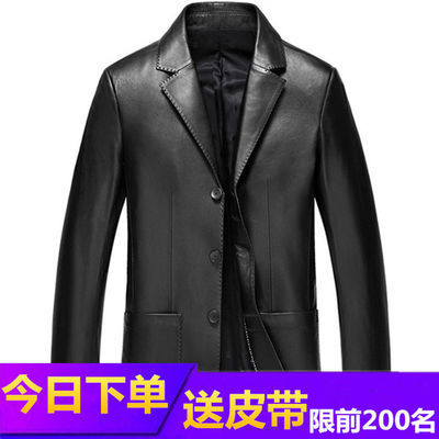 春秋新款皮西装男士商务休闲西装领皮外套薄款修身皮衣夹克男西服